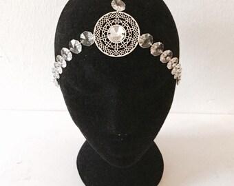 Headdress of silvery glass / fusion tribal headpiece / crystal headpiece / wedding headpiece / headpiece / virus tribalfusion / boho chic