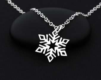 Snowflake Necklace, Snowflake Jewelry, Sterling Silver, Holiday Jewelry, Winter Necklace, Snowflake Charm, Snowflake Pendant, Winter Charms
