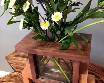Walnut Glass Block Vase