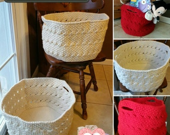 Cable Weave Storage Basket, Made-to-Order Crochet