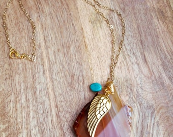 Slice amber agate wing charm necklace