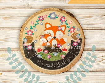 Woodland Nursery Decor,Woodland Wall Art,Nursery Wall Art,Fox Wall Art,Baby Shower GIft,For Baby,New Baby,Baby's Room,Woodslice Painting