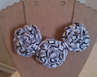 Rolled Rosette Fabric Flower Statement Necklace, Black, White & Gray With Silver Chain