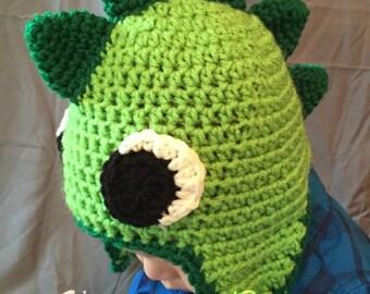 The Stegosaurus Beanie; handmade crochet dinosaur beanie, dino, lizard, big eyes, stegasaurus