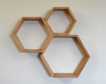 Hexagon Wooden Shelf Set // Tasmanian Oak
