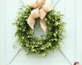 Boxwood and Burlap Wreath ~ Boxwood Wreath ~ Farmhouse Decor ~ Spring Wreath ~ Year Round Wreath ~ Mother's Day Gift ~ Gift for Her