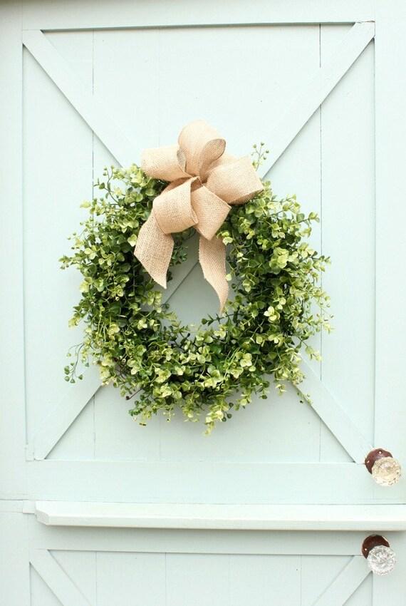 Boxwood And Burlap Wreath Boxwood Wreath Farmhouse Decor