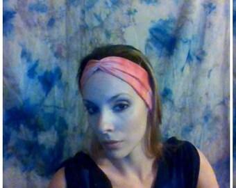 Pink and orange shibori print ruching headband