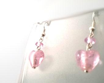 Elegant Pale Pink Glass Heart Drop Earrings, Gift for Her, Sterling Silver, Stocking Filler