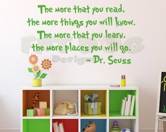 Dr. Seuss The More That You Read Removable Vinyl Wall Decal Kid's Room, Nursery, Playroom, Livingroom