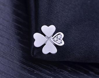 Four Leaf Clover 18k White Gold Diamond Pendant Charm Wedding Birthday Valentine's Mother's Day