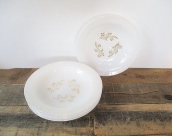 Five Milk Glass FireKing Bowls by The Anchor Hocking Company. Lovely Golden Wheat pattern.
