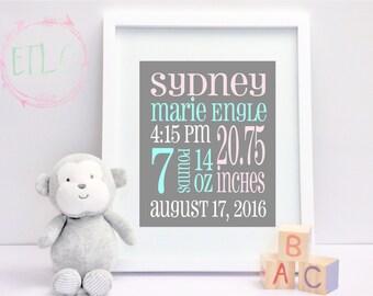 Baby Birth Stats, Newborn Baby Digital Announcement, Baby Girl Nursery Wall Art - Pink, Gray, Teal  {Custom DIGITAL FILE ONLY}
