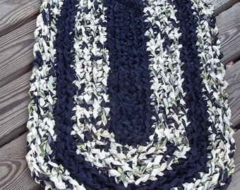 Black, Cream, White & Olive Green Crochet Rag Rug CP31