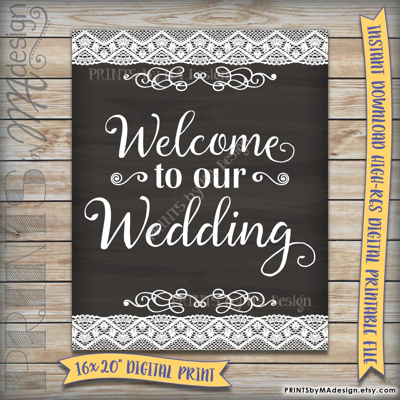 Wedding Chalkboard: Welcome To Our Wedding Sign Printable Chalkboard Style