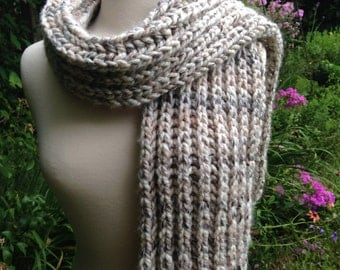 Birch Bark - Big Comfy Scarf - Chunky Knit Scarf - Wool Blend