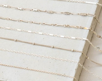 Custom Sterling Silver Chain Choker Necklace - Choose your own chain, beaded chain, satellite chain, bar chain, cable chain