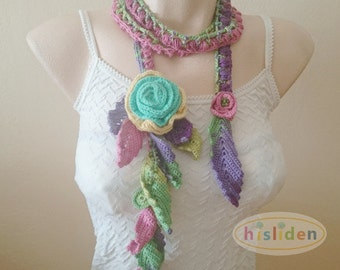 Crochet Lariat Scarf Moms Gift Lariat Necklace Pink Yellow Green Lilac Purple Necklace Handmade Scarf Lariat Scarf Necklace Her Gift