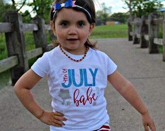 4th of July Babe GLITTER Onesie/Shirt - 0-24 months - 2T-12 Girls
