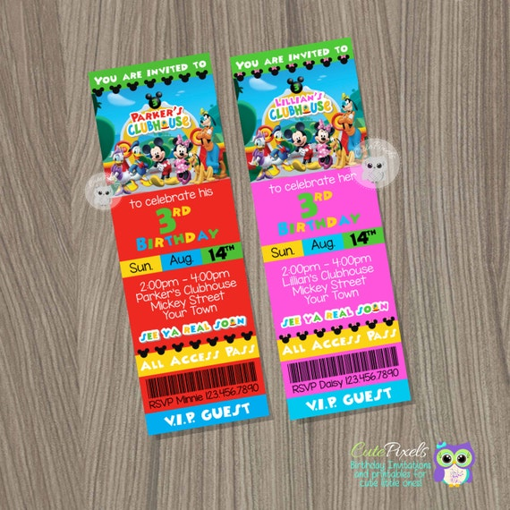 Mickey Mouse Invitation Mickey Mouse Birthday Mickey Mouse Party