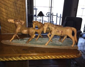 Hand Made Wooden Herd of Horses