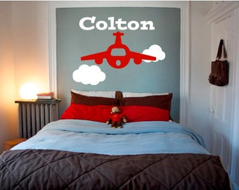 Airplane Personalized With Name Vinyl Wall Decal - You Choose Color And Size - 006