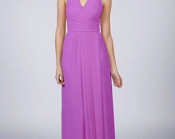 Matchimony Violet Halterneck Long Bridesmaid/Prom Dress