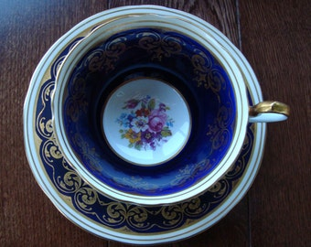 Cobalt Blue and Gold Aynsley England Bone China - Vintage Tea Cup and Saucer