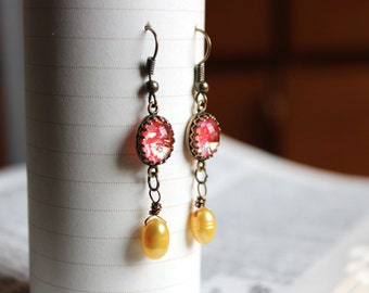 Opalescent Red with Yellow Pearl Earrings, Antiqued Brass