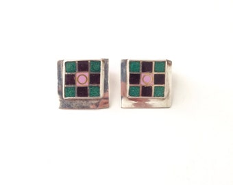 Vintage 925 Sterling Silver Square Clip On Earrings