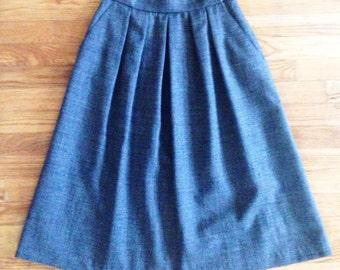Vintage 80s LIZ CLAIBORNE Wool Full Skirt | Grey High Waisted Wool Midi Skirt