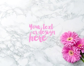 Desktop styled stock photography / Instant download / Pink flowers on marble background / #0651