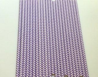 LIGHT PURPLE CHEVRON Paper Straws / Party Straws / Party Decor / Chevron Straws / Paper Party Straws / Purple Straws / Drinking Straws