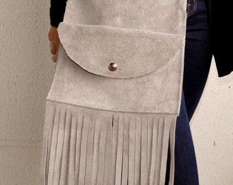 Taupe Suede Bag, Taupe Suede Handbag, Suede Bag with Fringe, Handbag with Fringe, Suede Fringe Bag, Taupe Fringe Bag, Suede Crossbody Bag
