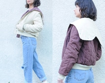 vtg 90s quilted reversible Letterman corduroy bomber / S Small cheerleader sailor collar / button zipper open hood hooded / snap