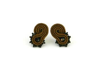Brown earrings, dark brown earrings, chocolate earrings, stud earrings black earrings, stud earrings, brown stud earrings, soutache earrings