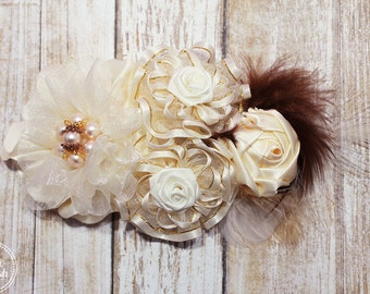 Feathered Ivory Hair Clip - Organza & Satin