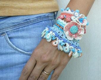 Bracelet Cuff, Crochet Bracelet Cuff, Blue - White Bracelet Cuff, Beaded Bracelet Cuff, Crochet Jewelry, Freeform Crochet