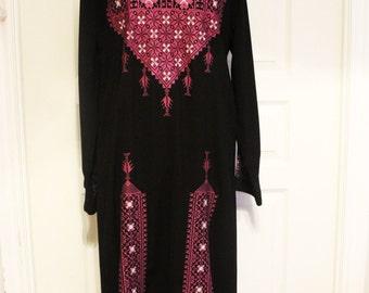 VTG 80s Embroidered Ethnic Tunic Black/Purple/White