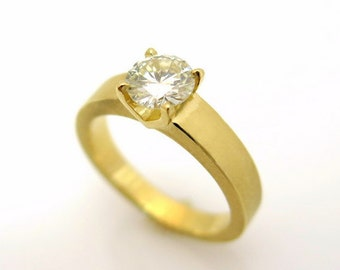 Solitaire engagement ring, 18k yellow gold ring, Modern diamond ring, Round diamond engagement ring, Unique engagement ring, 18k gold ring