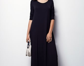 Black maxi dress long sleeve Maxi dress with sleeves For Women Fall oversize maxi dress - SIZE L,XL
