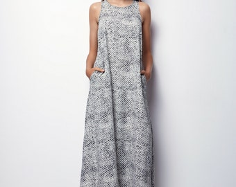 Printed White Maxi Dress, Summer Maxi Dress, Long Summer Dress -SIZE - L - Aliz