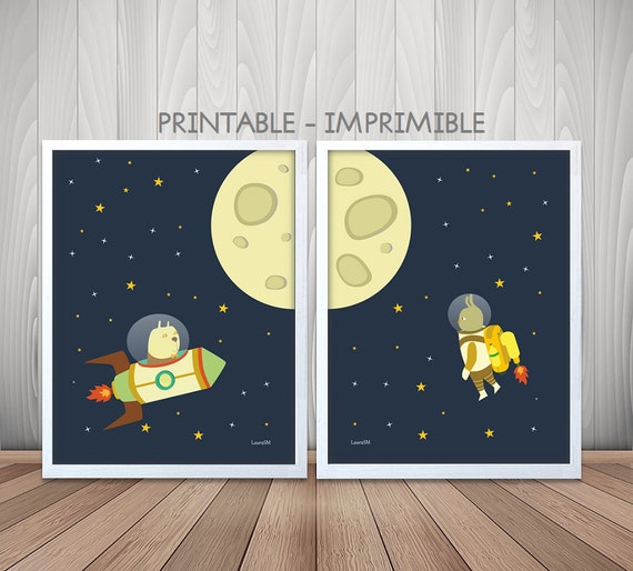 Nursery space print outer space kids room decor by for Outer space childrens decor