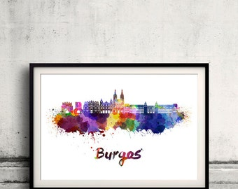 Burgos skyline in watercolor over white background with name of city - Poster Wall art Illustration Print - SKU 1873