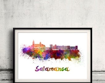 Salamanca skyline in watercolor over white background with name of city - Poster Wall art Illustration Print - SKU 1885