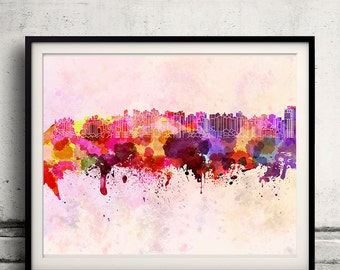 Curitiba skyline in watercolor background 8x10 in. to 12x16 in. Poster Digital Wall art Illustration Print Art Decorative - SKU 1314