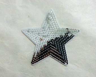 Silver Star Sequin Iron on Patch (L) # 2 - Sequin Star,Glitter Applique Iron on Patch - Size 9.0x8.5 cm