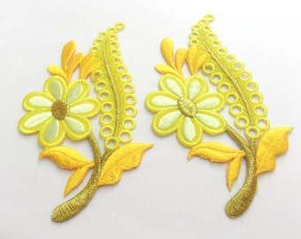 2 pcs Yellow Flower Patch  / Embroidered Flower Patch /Embroidered Iron on Patch / Flower Applique-Size 6.8 x 12.3 cm