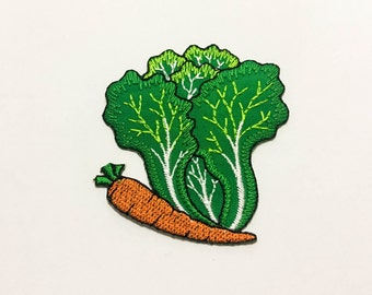 Lettuce Carrot Iron on Patch(L1) - Vegetable Applique Embroidered Iron on Patch -Size 6.2 x 6.8 cm
