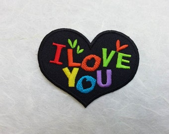 I Love You Heart Iron on  Patch (L1)- Text - Words - Message Iron On Patch Embroidered Applique Size 5.9x 7.6 cm